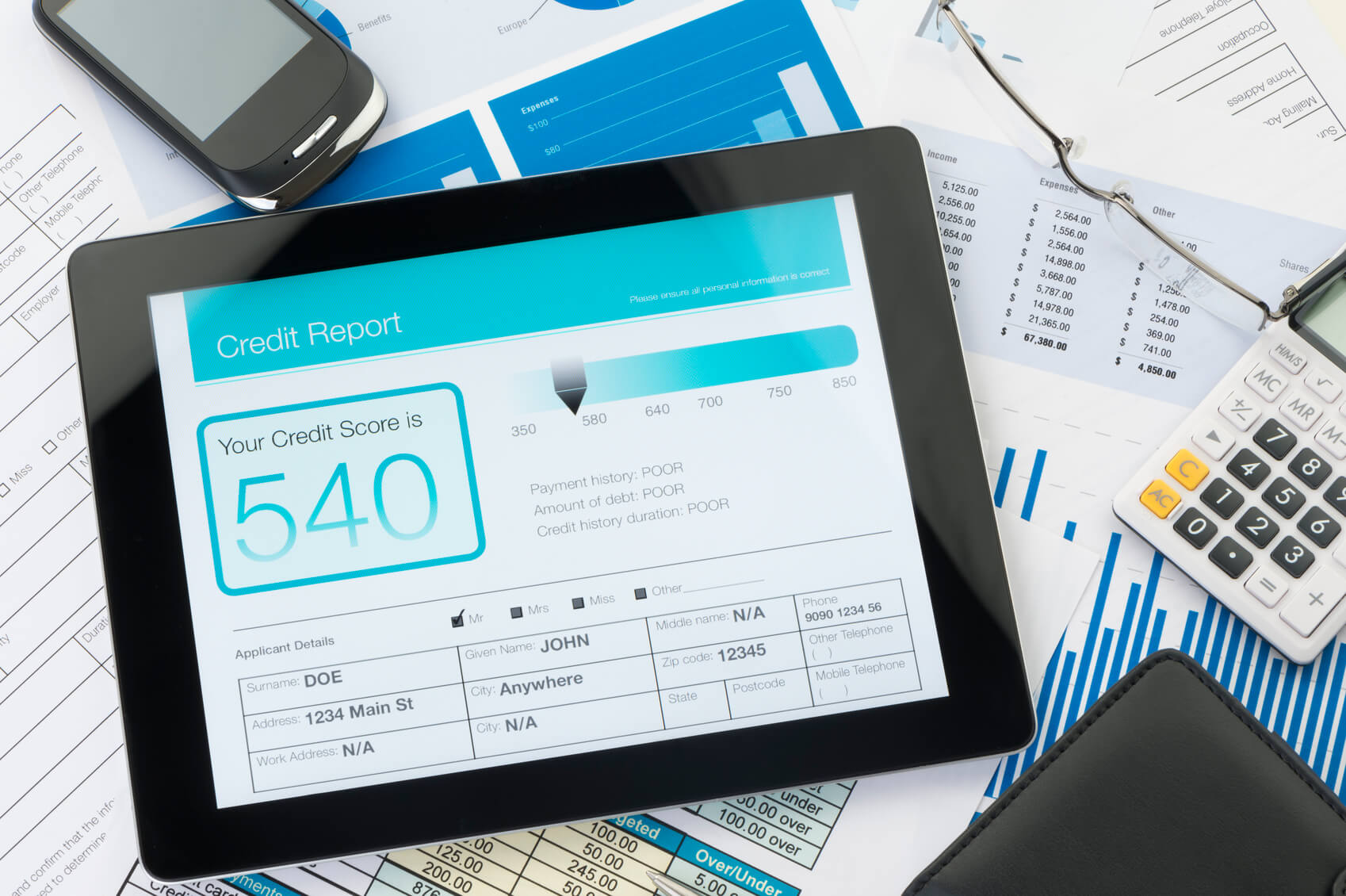 Credit score on a tablet