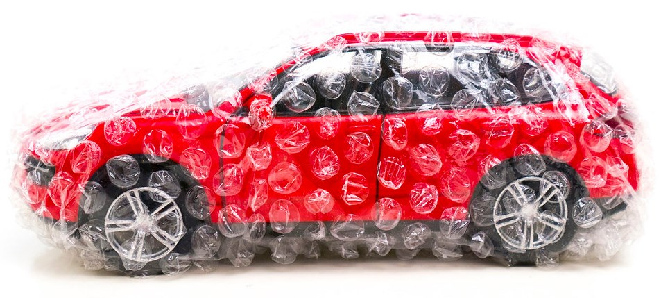 car in bubble wrap